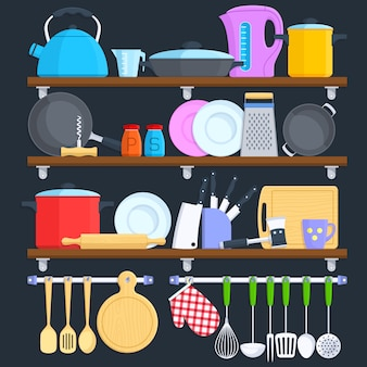 Kitchen shelves with cookware and cooking equipment flat vector concept.
