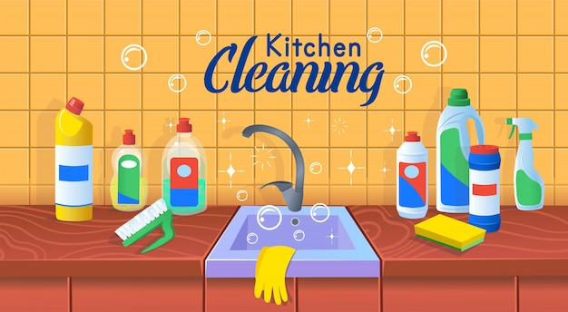 Kitchen sink with clean dishes.clean kitchen. a concept for cleaning companies.flat cartoon vector illustration.