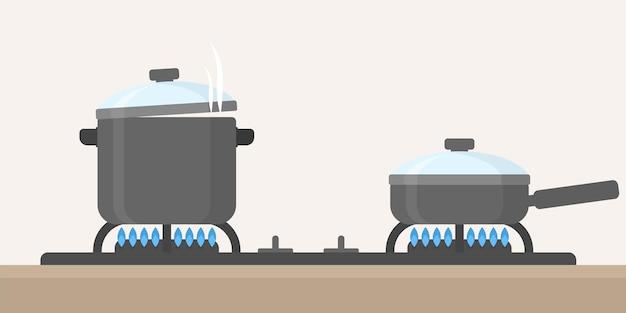Kitchen stove and pan, frying pan flat design vector illustration