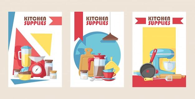 Kitchen supply store banner cooking utensils kitchenware appliance shop advertisement card