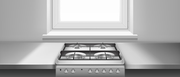 Kitchen table and gas stove with hobs and black steel grates. realistic illustration of metal cooktop and grey kitchen counter near window. stainless oven for cooking