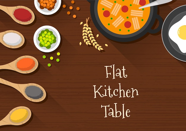Kitchen table top view with soup and various cooking ingredients