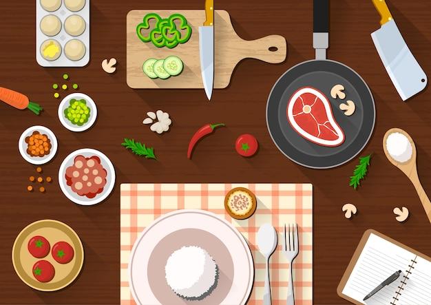 さまざまな食材を使ったキッチンテーブルトップビュー