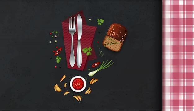 市松模様のテーブルクロス、カトラリー、食品とキッチンテーブル。上面図。図