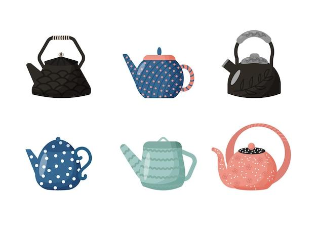 Kitchen teapot set cartoon style vector illustration kitchen utensils
