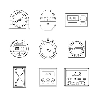 Kitchen timer icons set