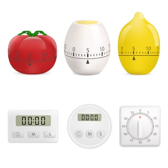 Kitchen timer mockup set. realistic illustration of 6 kitchen timer mockups for web