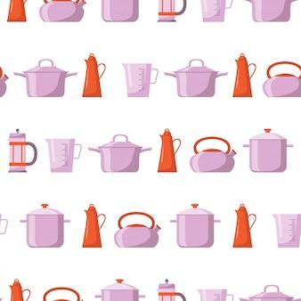 キッチンツールフラットアイコンのシームレスパターン。