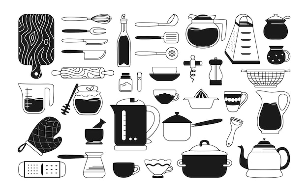Монохромный набор кухонных инструментов