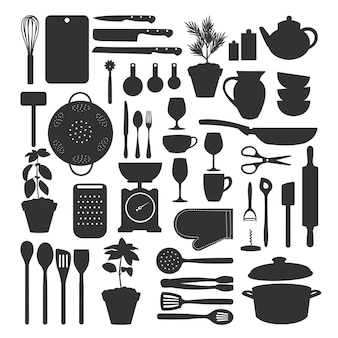 Kitchen tool set isolated