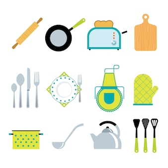 Kitchen tools accessories flat icons set
