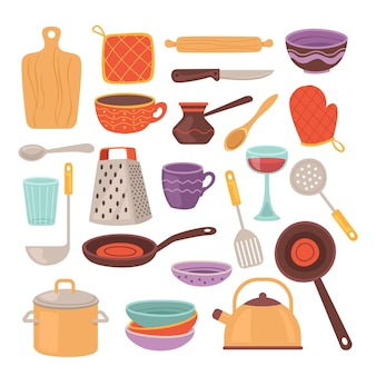 Kitchen tools accessory simple isolated set collection.
