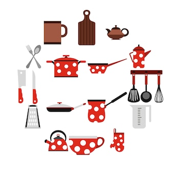 Кухонные инструменты и посуда иконы, плоский стиль