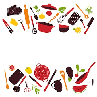 Kitchen tools background isolated
