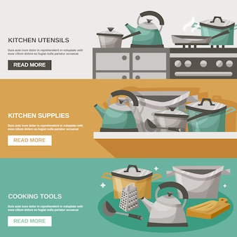 Kitchen tools banners set