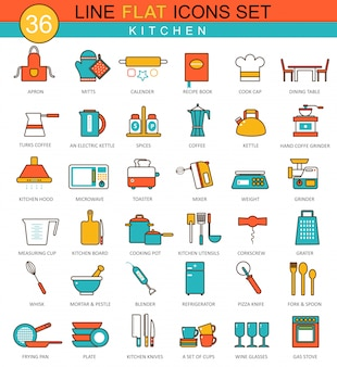 Kitchen tools flat line icons set