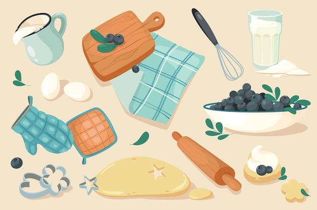 ベーカリーデザイン要素セットのキッチンツール。卵、ミルク、まな板、泡立て器、ナプキン、小麦粉、ブルーベリー、ミット生地、クッキーのコレクション。ベクトルイラストフラット漫画スタイルでオブジェクトを分離しました