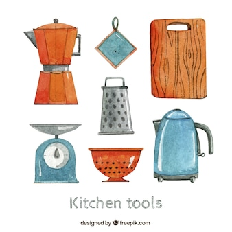 Kitchen tools in hand painted style