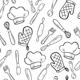 キッチンツールのシームレスなパターン。キッチン用品のフリーハンドスタイルの落書き。台所用品。調理器具の背景。ファブリック、テキスタイル、アパレル、壁紙の漫画ベクトルイラスト。