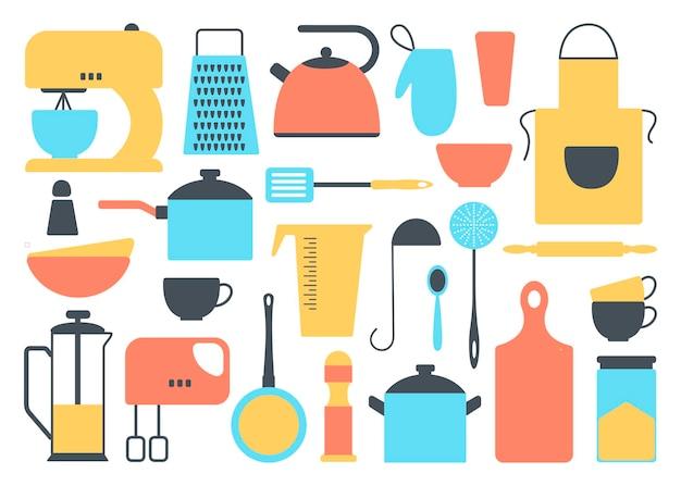 Набор кухонных инструментов коллекция кухонной посуды инструменты для приготовления пищи посуда столовые приборы изолированные