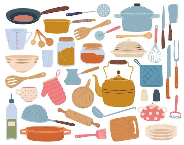 Кухонные инструменты, шпатель, ложка, сковорода, нож, миска, посуда, плоская мультяшная посуда, набор посуды