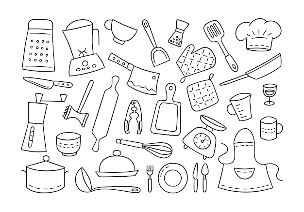 Kitchen tools and tableware. cook. hand drawn.