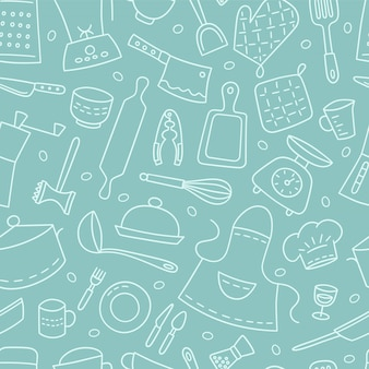 Kitchen tools and tableware. cook. seamless pattern. hand drawn illustration