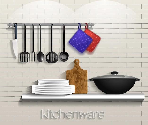 レンガの背景に台所用品とキッチンツールベクトル