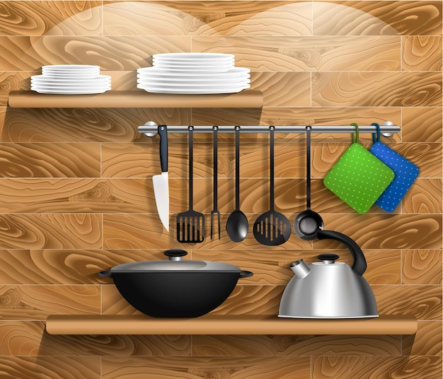 台所用品付きのキッチンツール。調理器具、やかん、鍋が付いている木製の壁の棚。ベクター