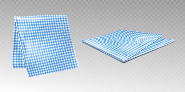 市松模様の青と白のパターンのキッチンタオルまたはテーブルクロス