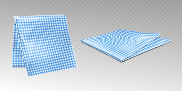 Kitchen towel or tablecloth with chequered blue and white pattern