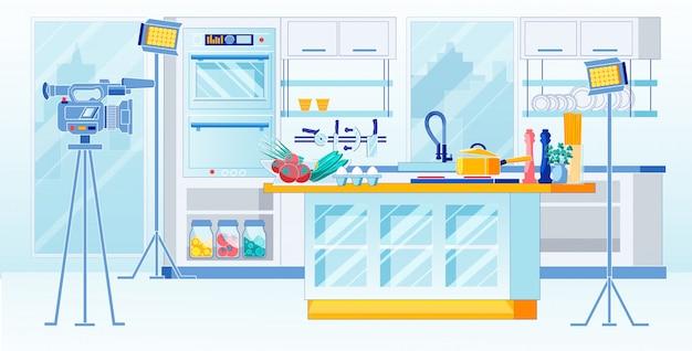 Kitchen tv show recording home recipes, cartoon.