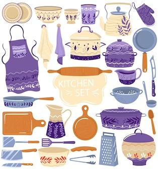 Кухонная утварь для приготовления векторных иллюстраций