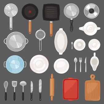 キッチン調理器具や調理器具の鍋カトラリーのセットを調理し、食器とフライパンや背景に鍋のプレートイラストのセット