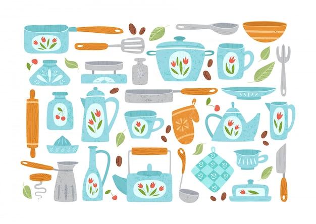 Элементы дизайна кухонной утвари или посуды - кастрюлю, ложку, миску, вилку, изолированные на белом