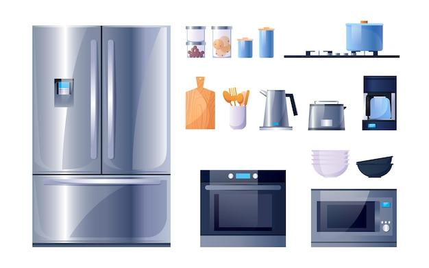 벡터 평면 아이콘을 요리하기 위한 주방 용품 및 가전 제품 주방 전자레인지 스토브 오븐