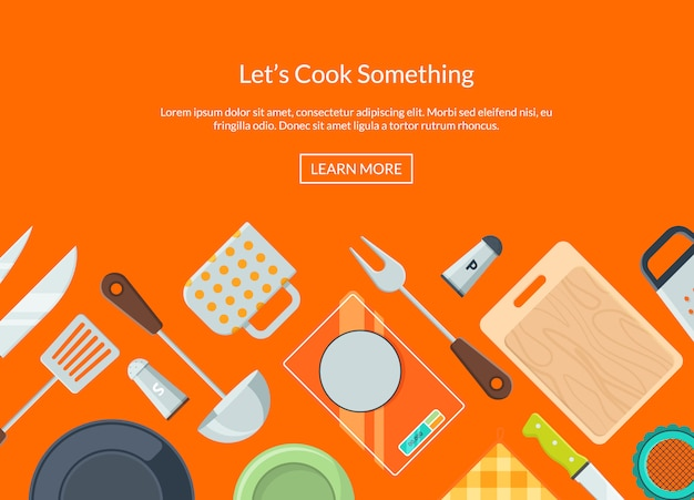 Kitchen utensils banner