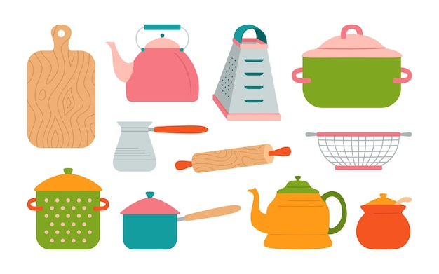 Kitchen utensils cartoon style set, pot kettle, rolling pin and grater