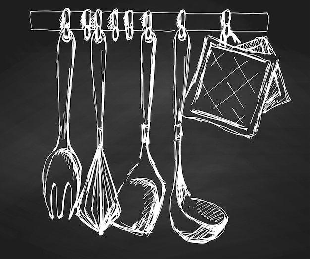 Kitchen utensils on the chalkboard.vector illustration in a sketch style.