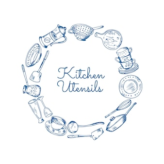 Kitchen utensils in circle form with place for text in center illustration