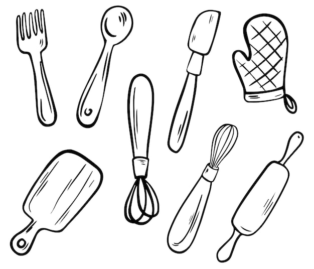 Kitchen utensils collection. kitchen tools, line art. fork, knife, pot, holder, whisk, spoon, rolling pin and cutting board. hand drawn vector illustration.