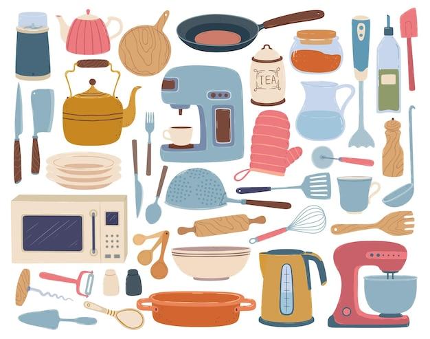 Kitchen utensils cooking and baking equipment toaster blender wooden board kettle set