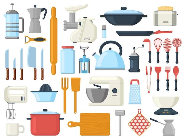 台所用品、料理用調理器具、カトラリーのシンボル。台所用品ツール、調理器具、食器ベクトルイラストセット。料理ツール要素コレクション