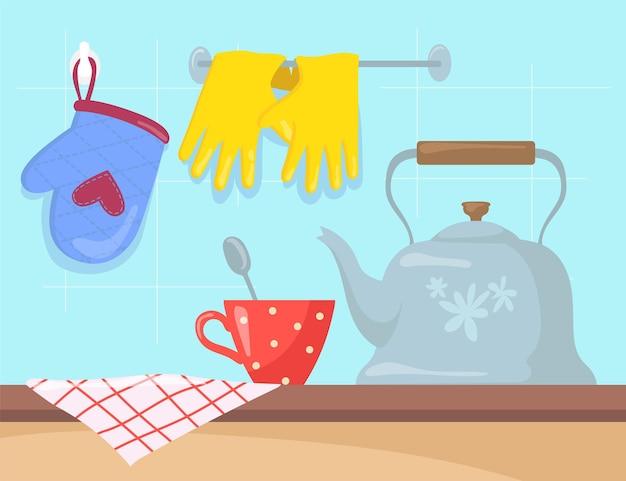 Kitchen utensils on counter cartoon illustration