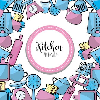 Kitchen utensils culinary collection background