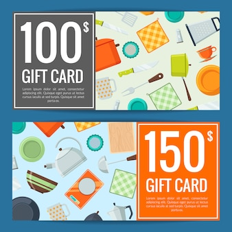 Kitchen utensils flat icons discount or gift card voucher templates