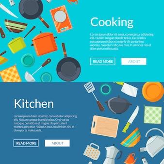 Kitchen utensils flat icons horizontal web banners