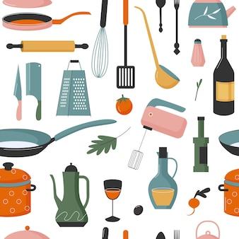 シームレスパターンのかわいい家庭用台所用品シェフ機器を調理するための台所用品