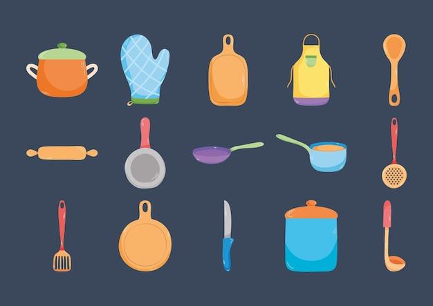 Набор иконок кухонной утвари
