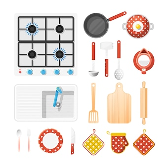 Kitchen utensils icons set